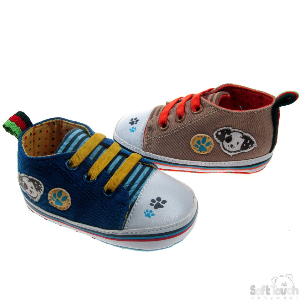 COTTON TWILL TRAINERS WITH CONTRAST LACES & DOG PATCH: B2140