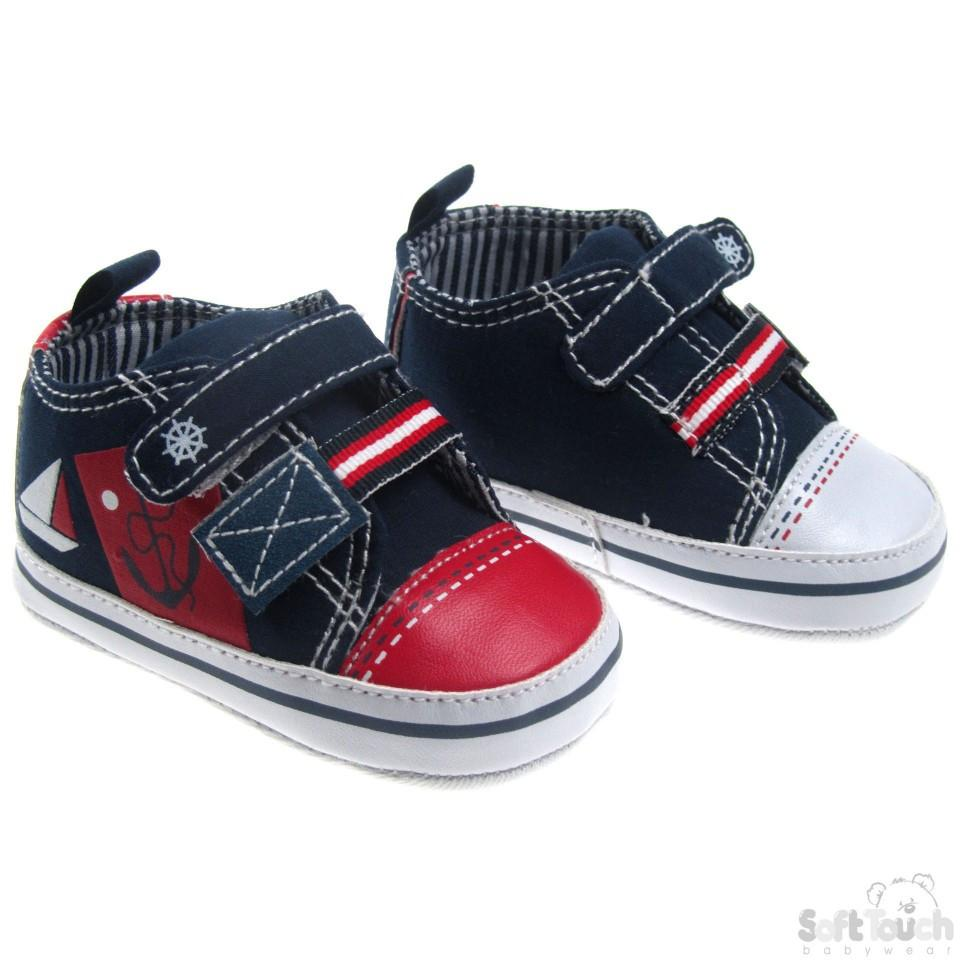 NAUTICAL PRINT SHOES W/DOUBLE VELCRO FASTENER: B2144