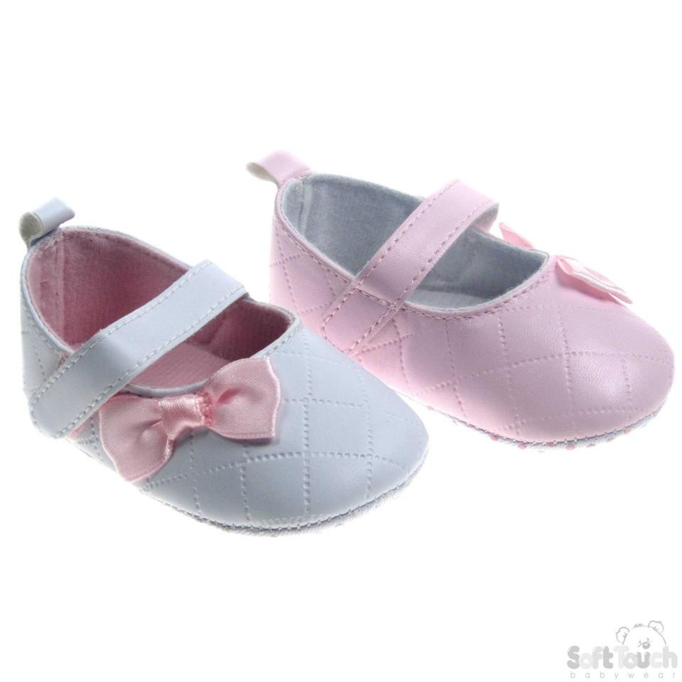 'Kriss Kross' Stitch Shoes W/Satin Bow: B2148