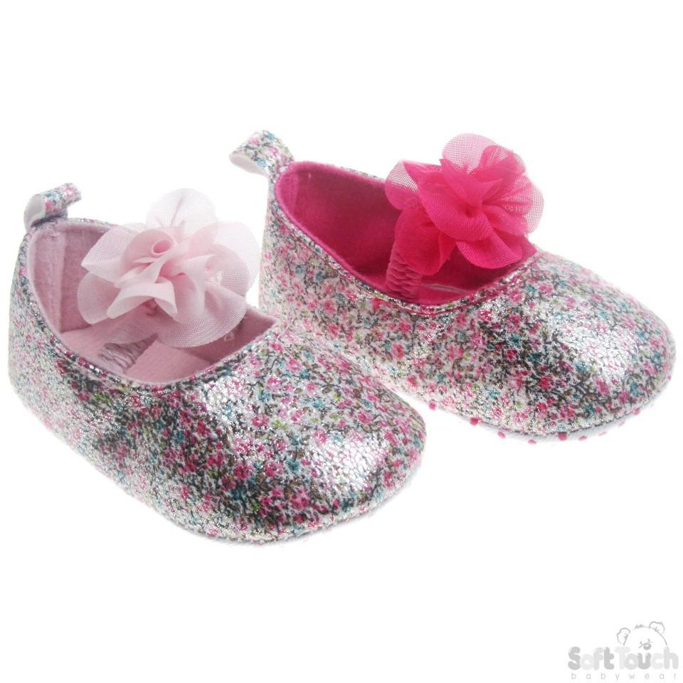 Pink PU Floral Shoes W/ Chiffon Flower B2154
