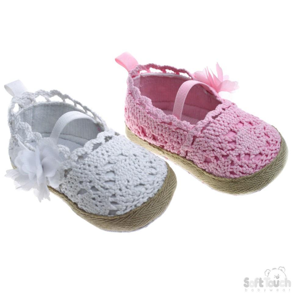 Crochet Knitted Shoes W/Plain Elastic Strap & Flower: B2160
