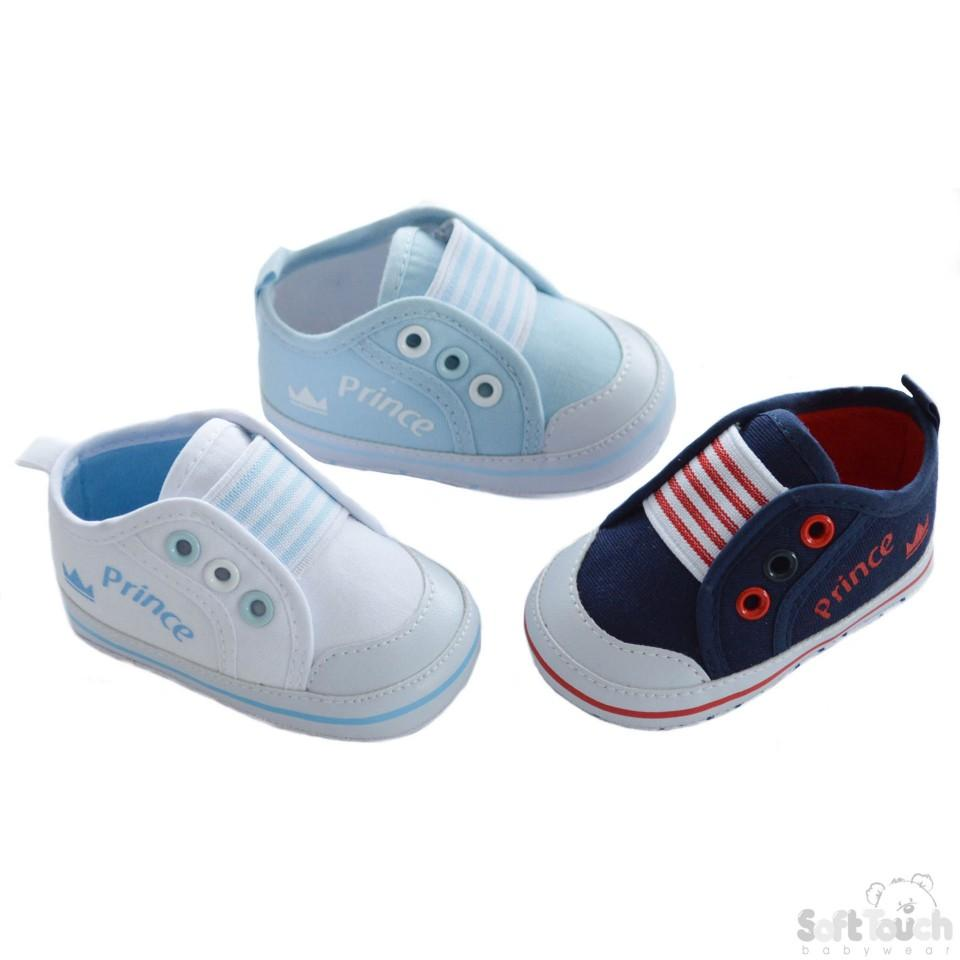 Cotton Twill Trainer Shoes W/2-Coloured Eyelets & Prince Printing On Side: B2164