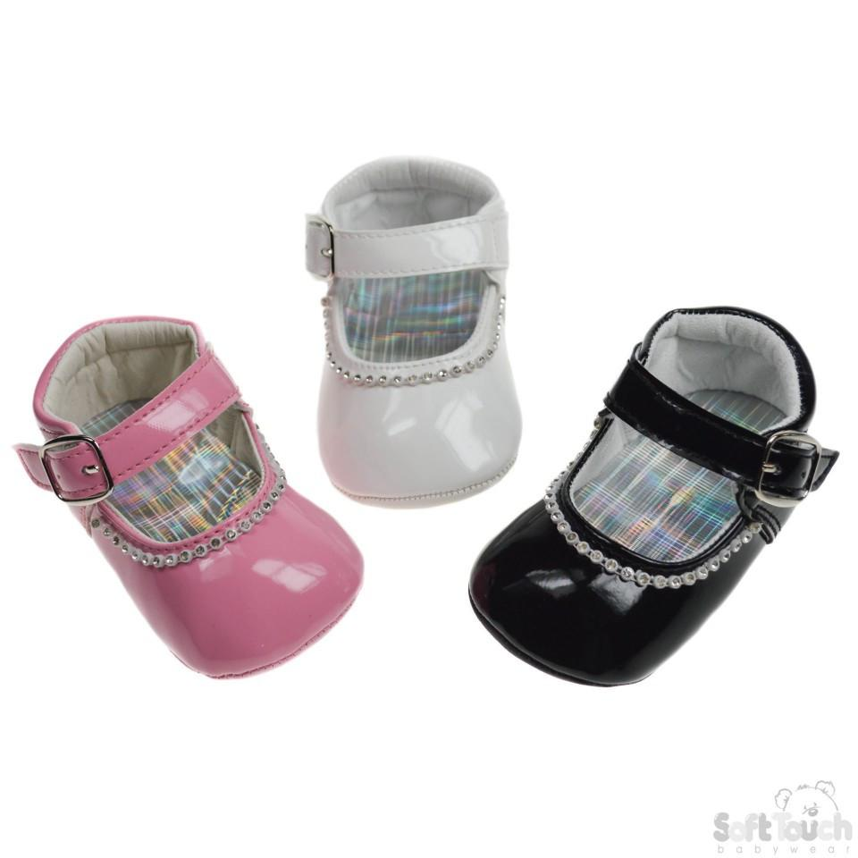 PU SHOES W/VELCRO STRAP, BUCKLE & DIAMONTE: B2178