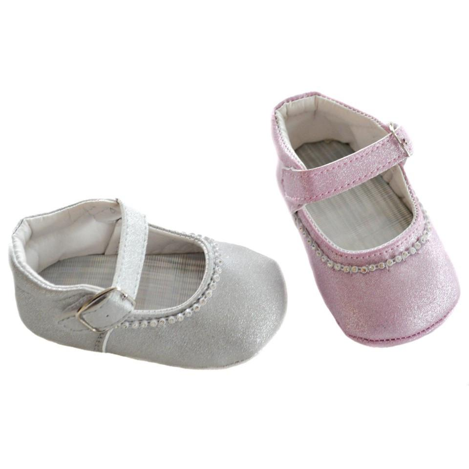SUEDE GLITTER SHOES W/VELCRO STRAP & BUCKLE & DIAMONTE: B2180
