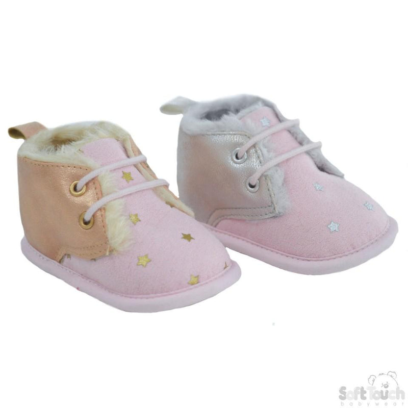 Girl's Pink Suede Trainers W/Star Print, Glitter PU & Fur Lining: B2224 NB-12 Months - Kidswholesale.co.uk