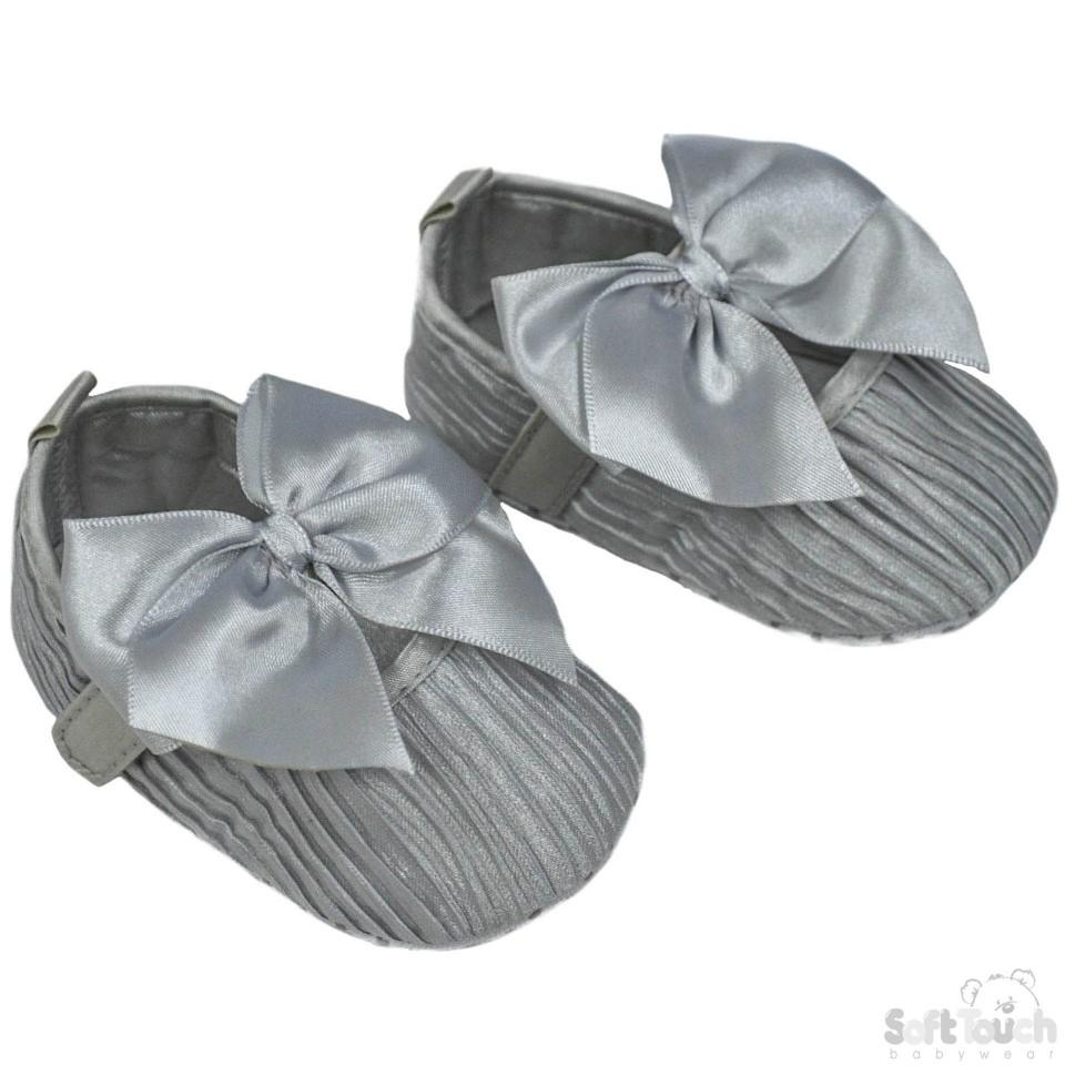 Girls Wrinkled Satin Shoes W/Velcro Fastener & Large Satin Bow: B2226-G