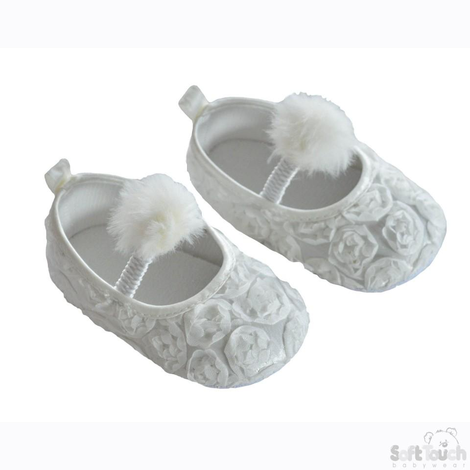 Girls Rose Flower Shoes W/Velcro Strap & Pom Pom: B2230-W