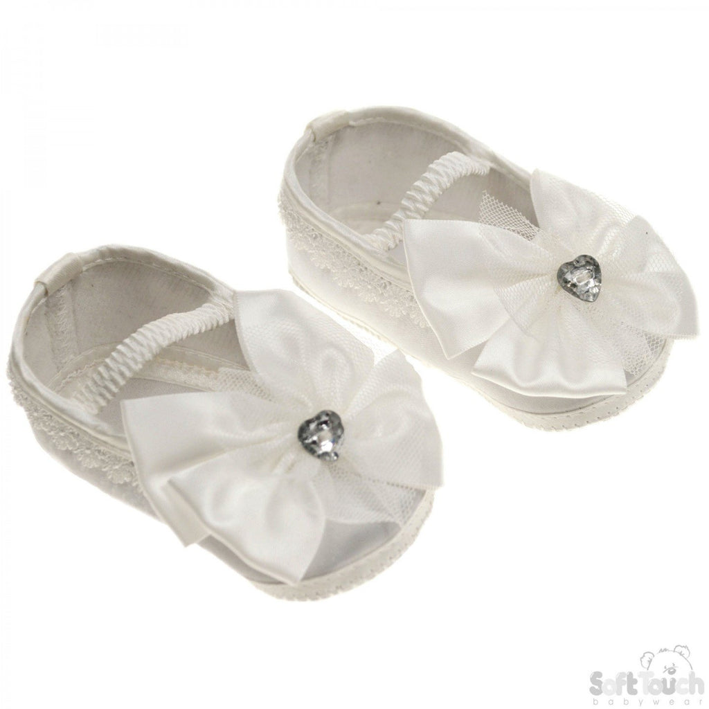 Girls Satin Shoes W/Large Satin Bow & Stitched Heart Diamonte (B91-C)