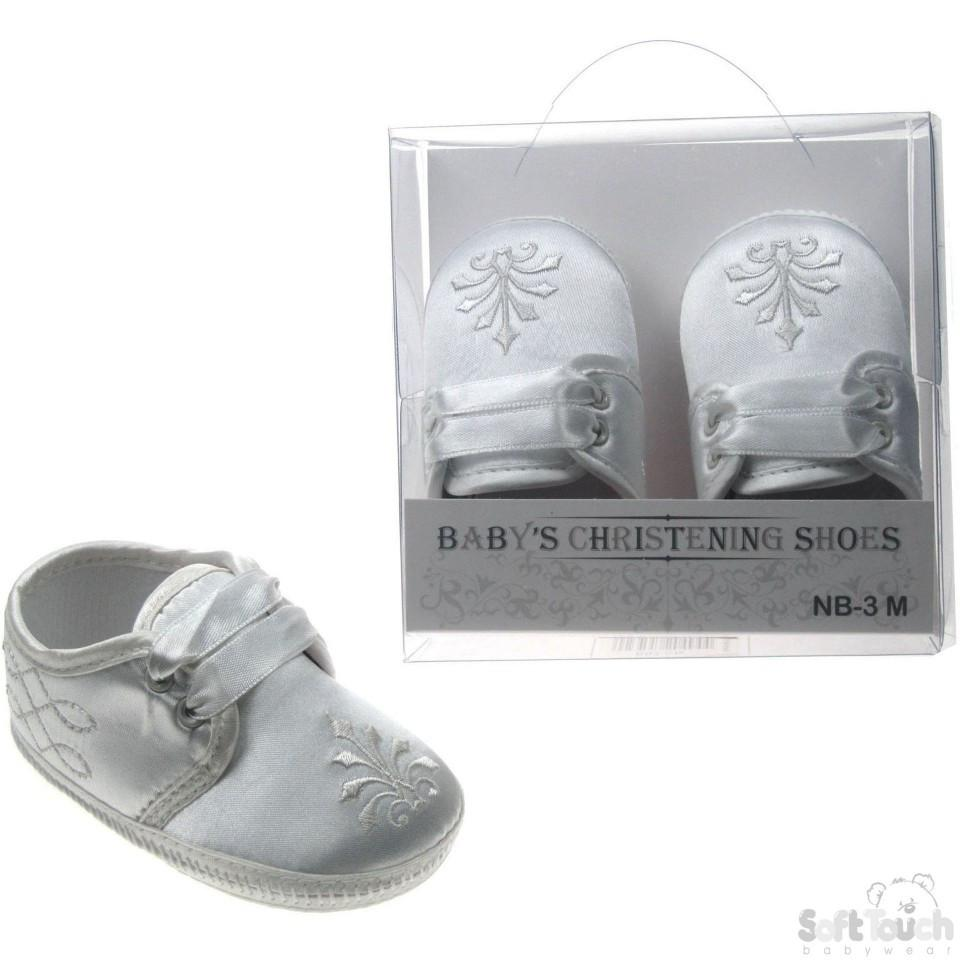 Boys Satin Christening Shoes (B92-C)
