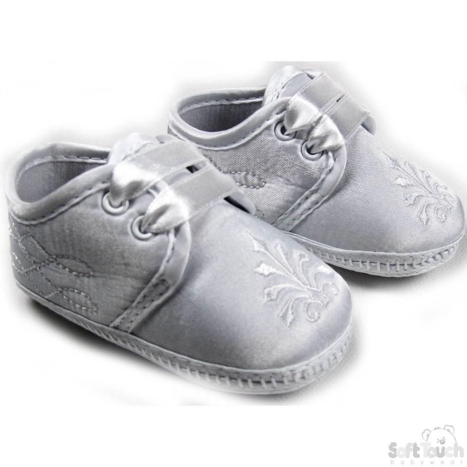 Boys Satin Christening Shoes (B92-W)