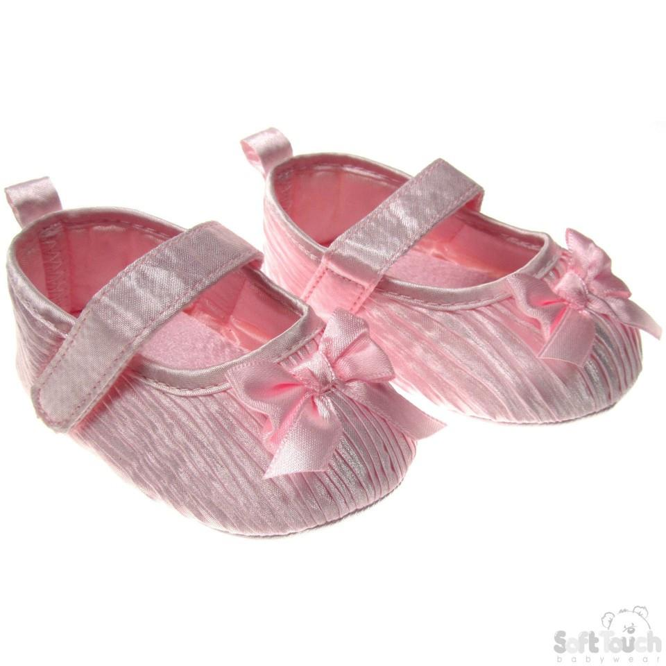 LIGHT PINK SATIN PARTY SHOES W/BOW: B94-LP