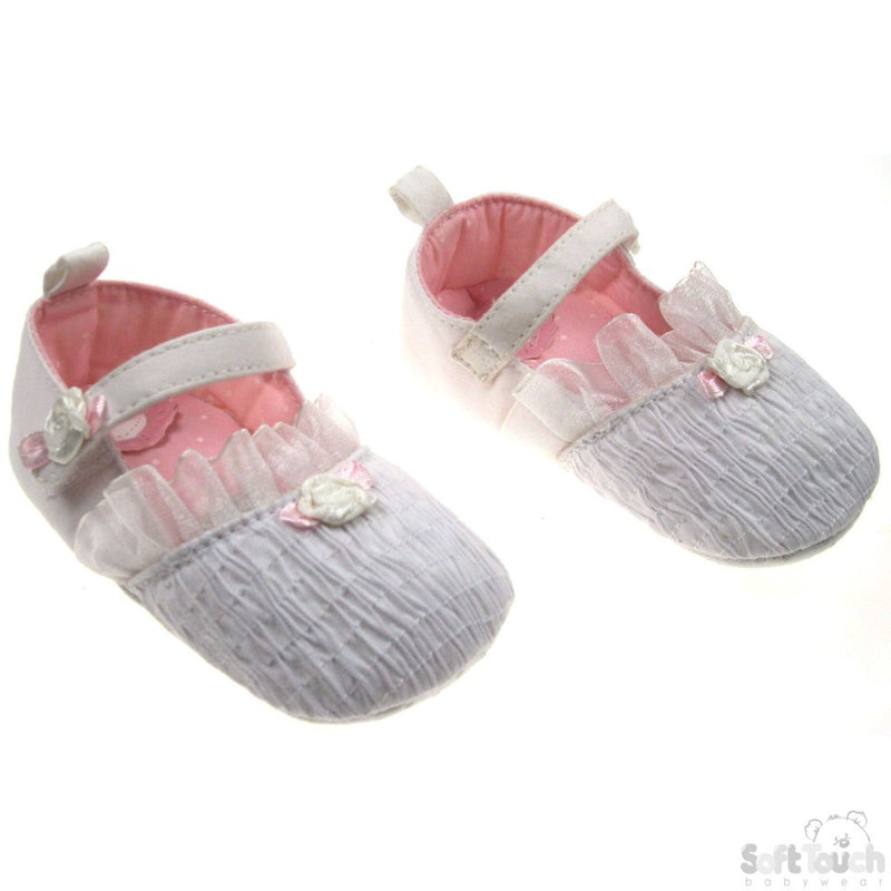 GIRLS RUFFLED COTTON SHOES W/FRILL & FLOWER MOTIF: B941