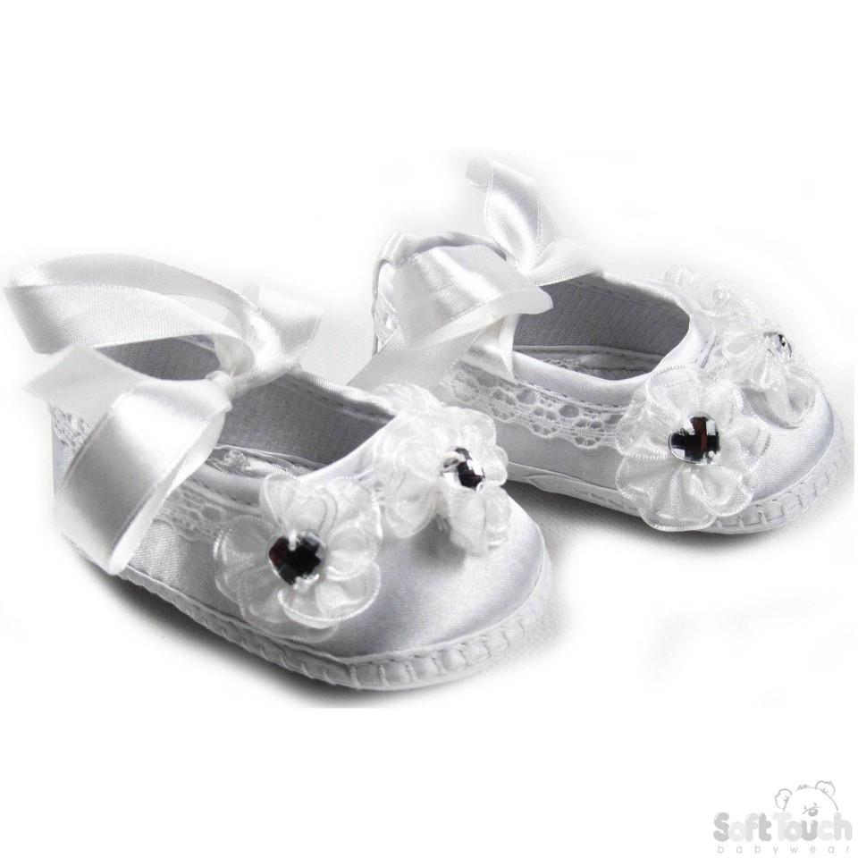 GIRLS SATIN CHRISTENING SHOES: B96-CR
