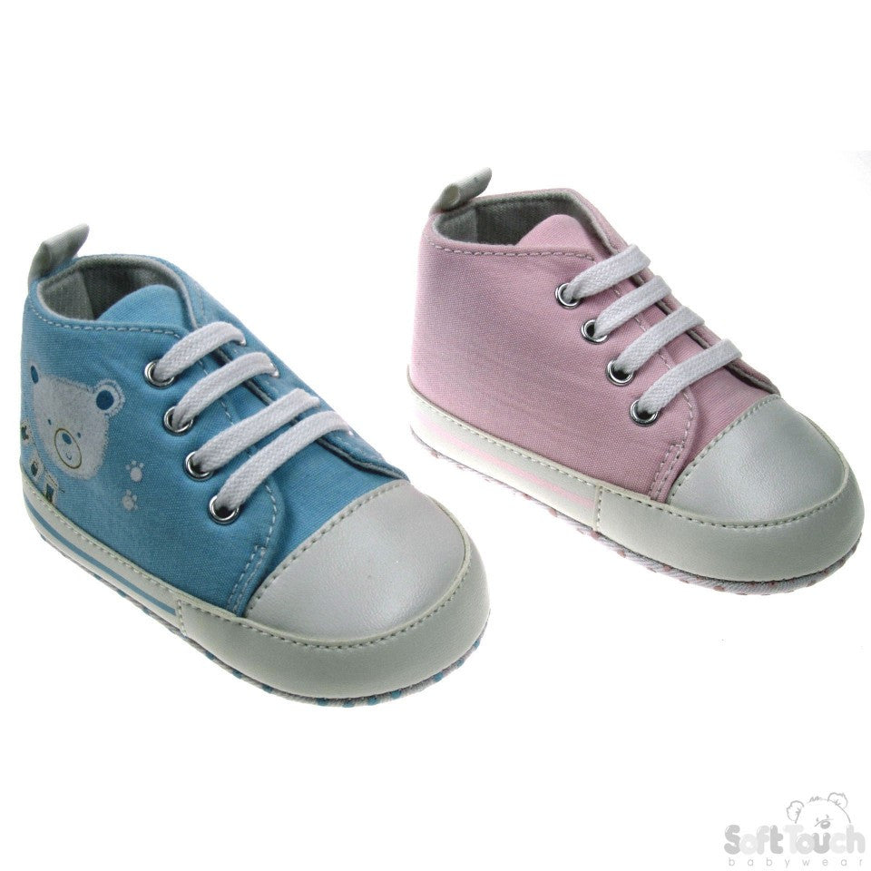 COTTON TRAINERS W/BEAR FACE: B968