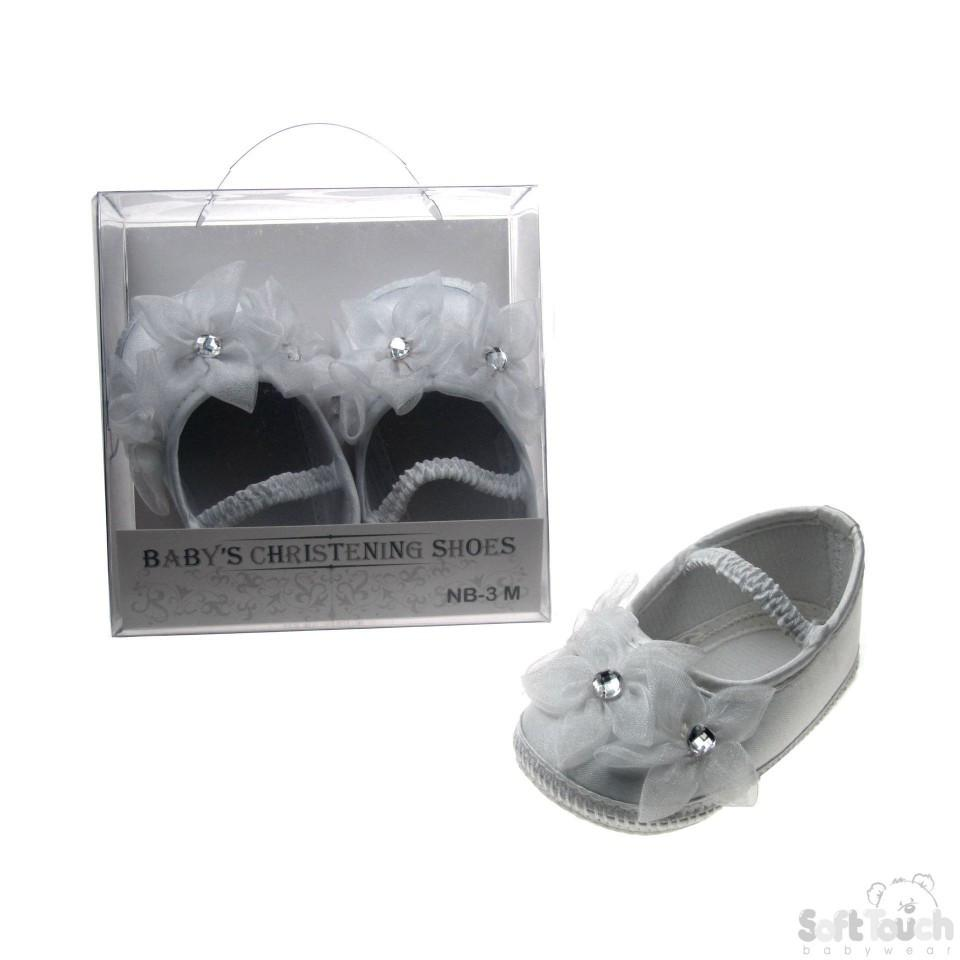 GIRLS SATIN CHRISTENING SHOES: B98-W