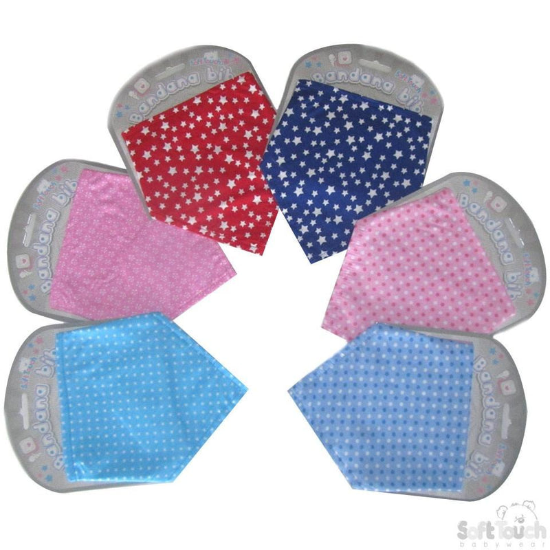 SPOTS/STARS PRINTED BANDANA BIB: BB342 - Kidswholesale.co.uk