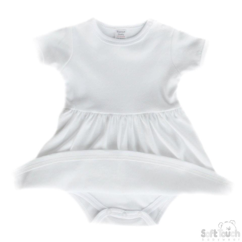 Infants Plain White Romper Onesie Dress: BD4630-W
