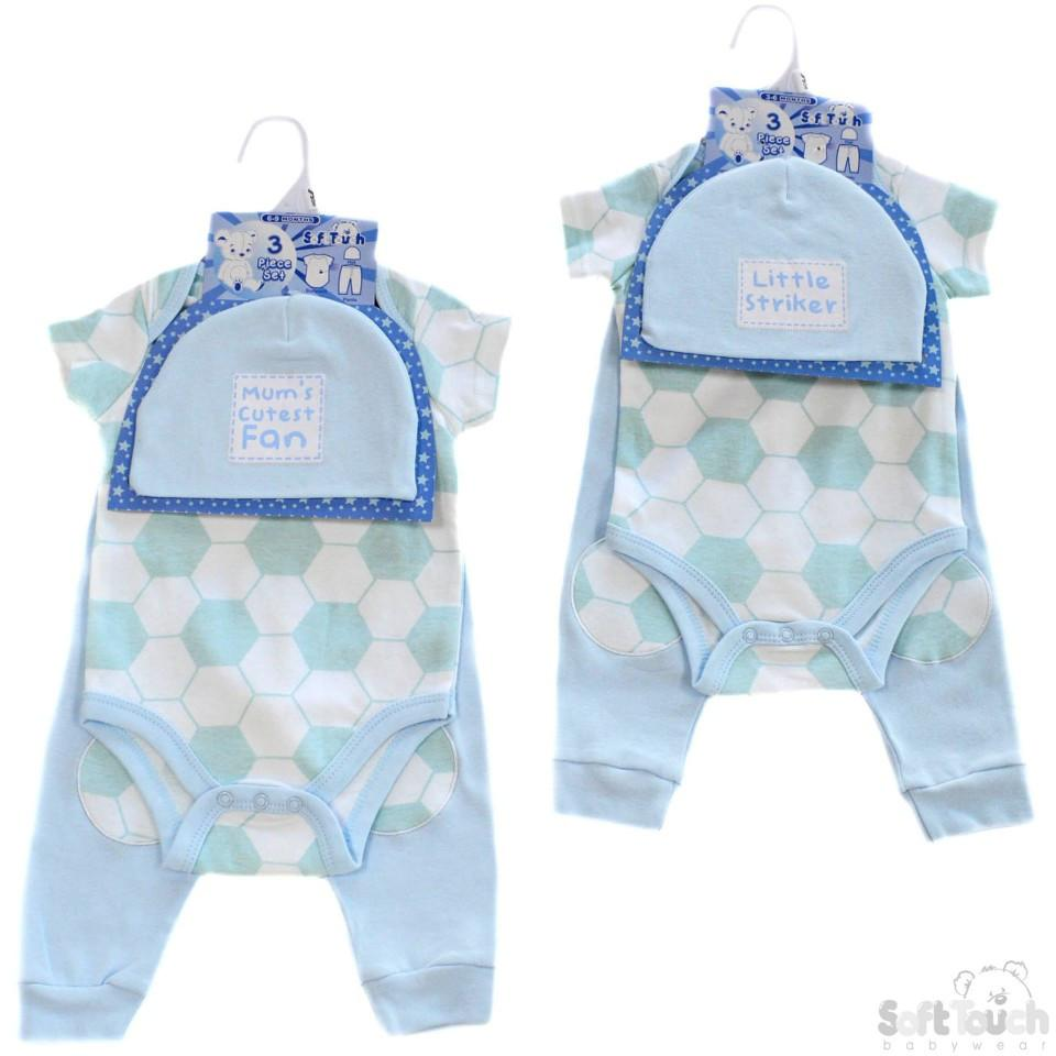 BOYS 3 PIECE SET - HAT, BODYSUIT & PANTS: BG34-B