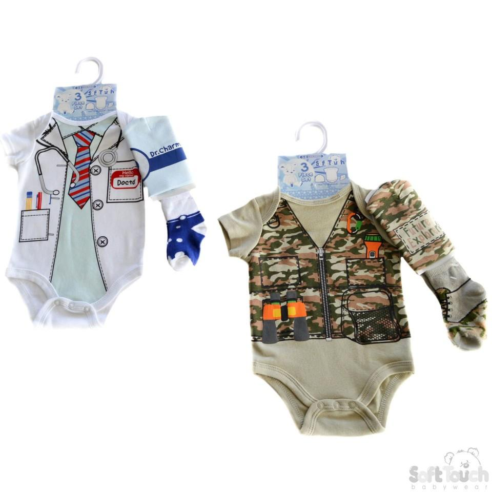 BOYS 3 PIECE SET - HAT, BODYSUIT & SOCKS: BG80