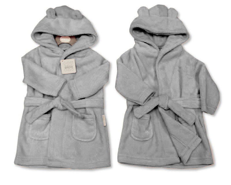 Supersoft Baby Dressing Gown/ Robe -Grey (3-24m) BIS-2020-2346
