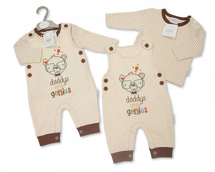 Baby Boys 2 pcs Dungaree - Daddy's Little Genius (Bis 2025 -1613)