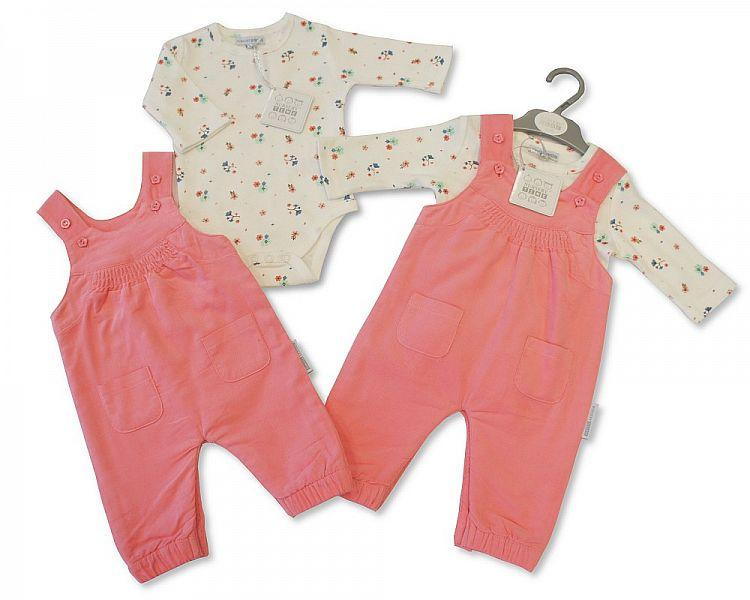 Baby Girls 2 pcs Dungaree - Petal (BIS2026-1751) - Kidswholesale.co.uk