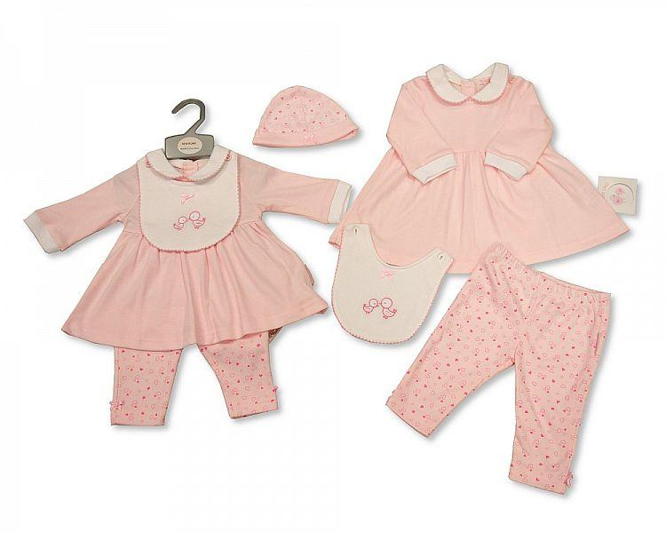 Baby Girls 2 Pieces Set with Bib and Hat 0-6 M (Bis 2026-1872)