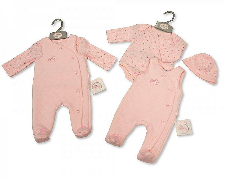 Baby Girls 2 Pieces Set with Hat - Lovely Birdy 0-3 M (Bis-2026-1874) - Kidswholesale.co.uk
