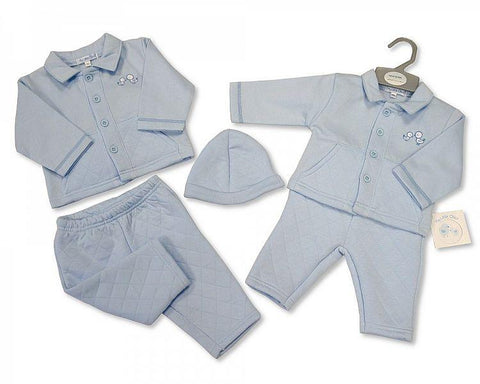 Boys Check Dungaree - Teddy NB-6 Months (Y1823)