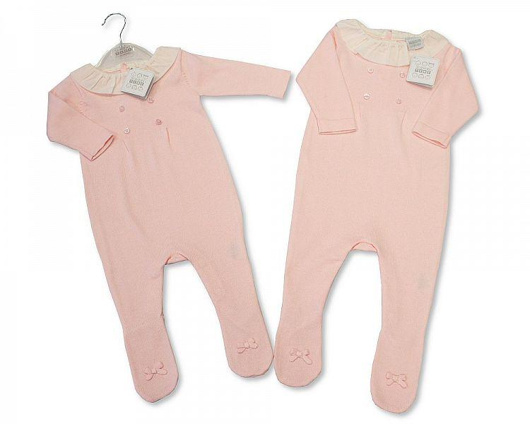 Baby Girls Knitted Cotton Romper with Feet - 1901 - Kidswholesale.co.uk