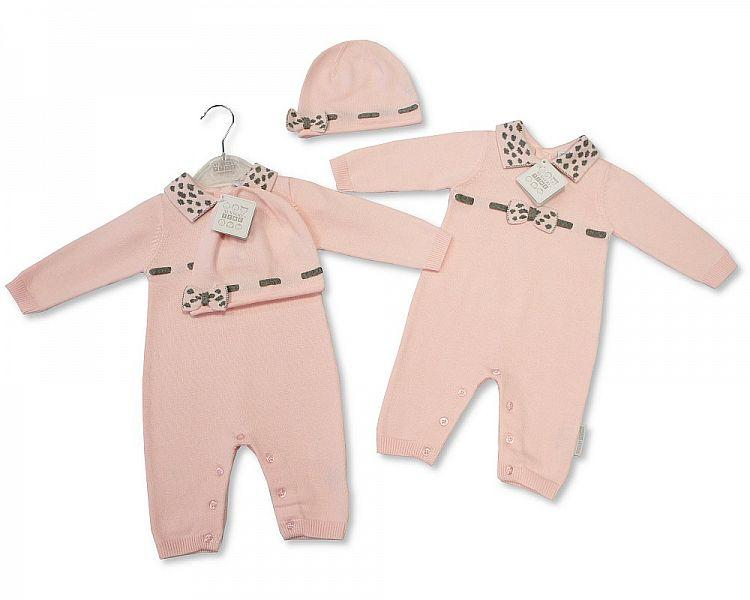 Baby Girls Knitted Cotton Romper with Hat - NB-6M - (BIS-2027-1906)