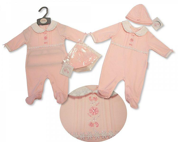 Baby Girls All in One with Lace and Hat - Flowers - NB-3M - (BIS-2027-2059)