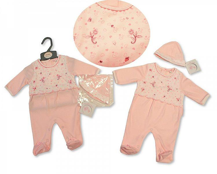 Baby Girls All in One with Hat - Flowers- NB-3M - (BIS-2027-2060)