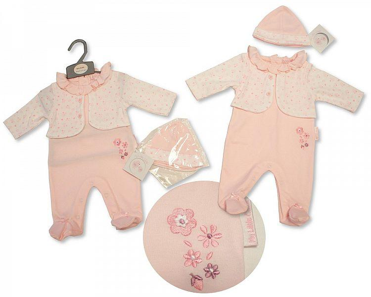 Baby Girls All in One with Faux Jacket and Hat - Flowers- NB-3M - (BIS-2027-2061)