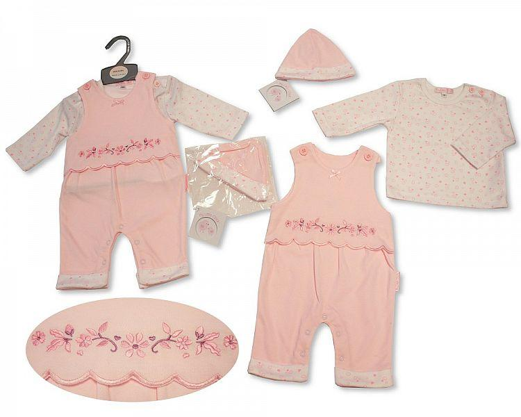 Baby Girls 2 pcs Set with Hat - Flowers- NB-3M - (BIS-2027-2062)