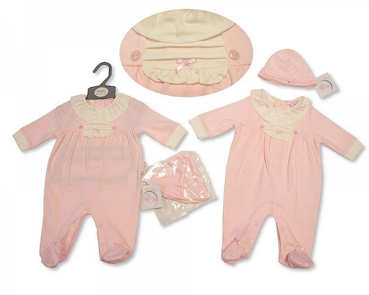 Baby Girls All in One with Hat - Pink - NB-3M - (BIS-2027-2063)