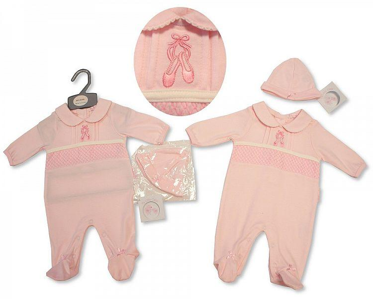 Baby Girls All in One W/Hat - Ballerina - NB-3M - (BIS-2027-2065)