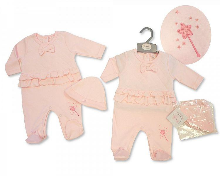 Baby Girls All in One with Bow and Hat - I Wish - NB-3M - (BIS-2027-2067)