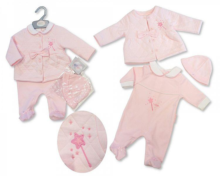 Baby Girls All in One with Jacket and Hat - I Wish - NB-3M - (BIS-2027-2068)