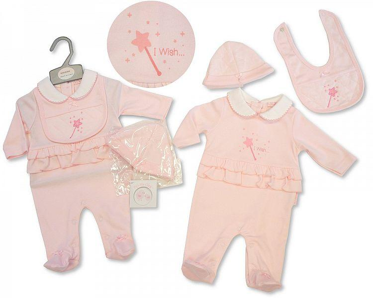 Baby Girls All in One W/Bib & Hat - I Wish - NB-3M - (BIS-2027-2071)