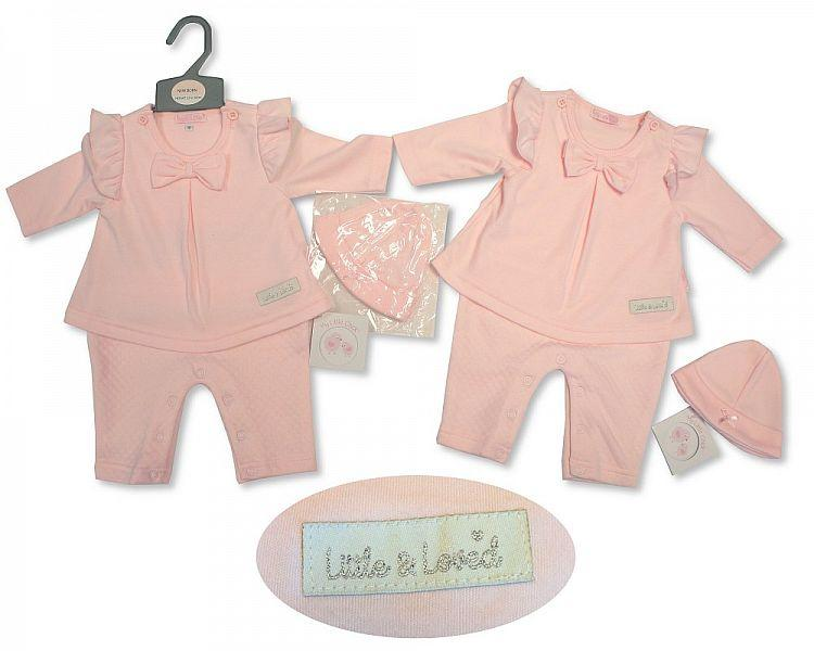 Baby Girls Faux 2pc Set W/Bow & Hat - Little & Loved - NB-3M - (BIS-2027-2075)