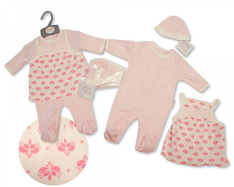 Baby Girls Smocked 2 pcs Set with Hat - Flowers - NB-3M - (BIS-2027-2077)