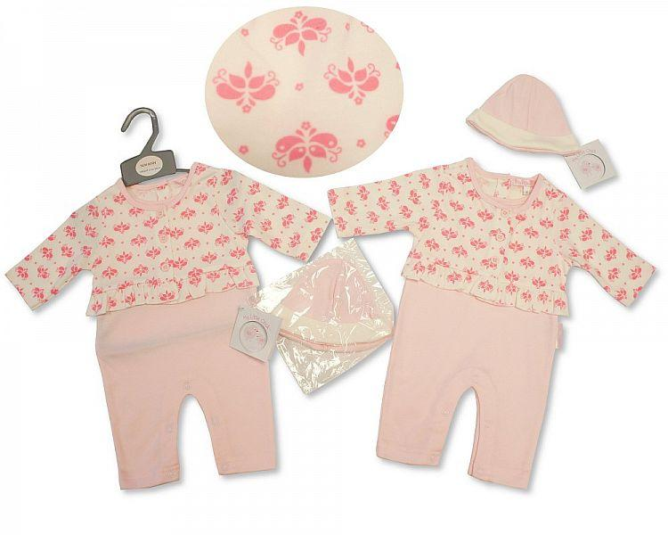Baby Girls 2 pcs Set with Hat - Flowers - NB-3M - (BIS-2027-2078)