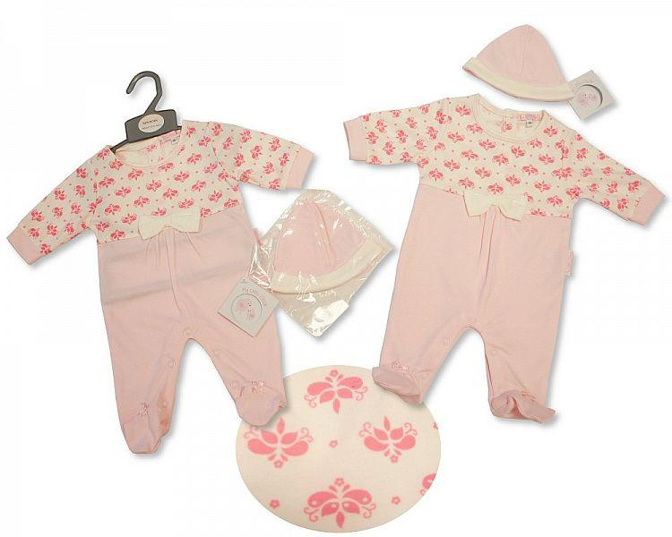 Baby Girls All in One with Bow & Hat - Flowers - NB-3M - (BIS-2027-2079)