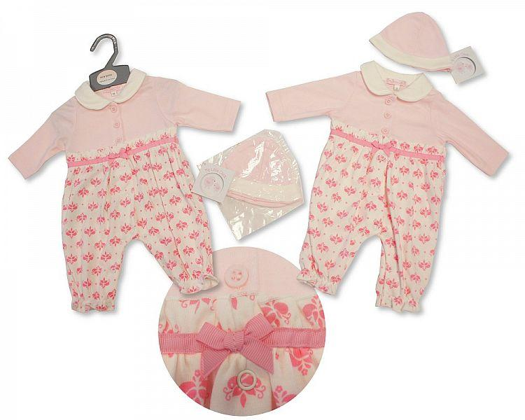 Baby Girls All in One W/Open Feet and Hat - Flowers - NB-3M - (BIS-2027-2080)