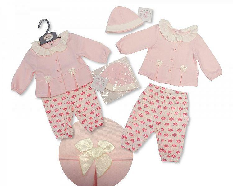 Baby Girls Trousers & Jacket Set W/Hat - Flowers- NB-6M - (BIS-2027-2081)