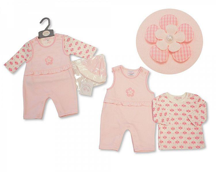 Baby Girls Dungaree & T-Shirt Set W/Hat - Flowers - NB-6M - (BIS-2027-2082)