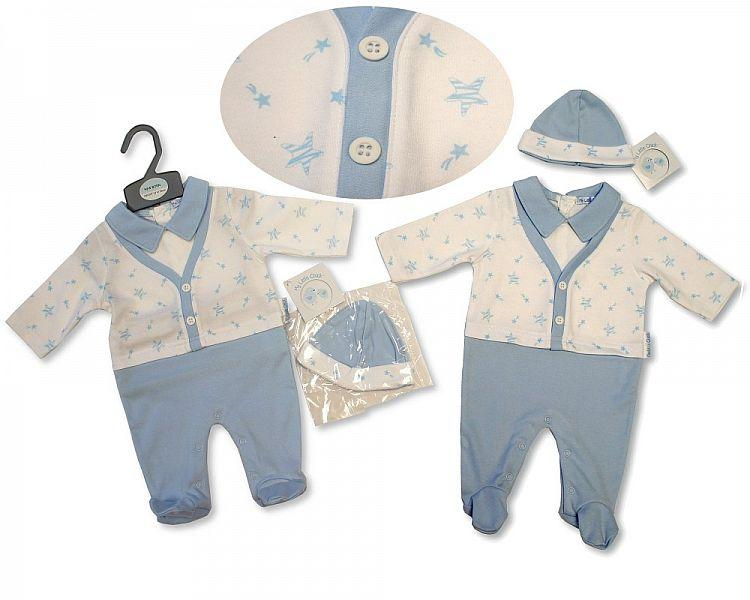 Baby Boys All in One with Hat and Faux Waistcoat - Stars - NB-3M - (BIS-2027-2090)