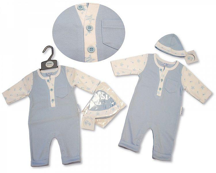 Baby Boys All in One with Open Feet and Hat - Stars - NB-3M - (BIS-2027-2091) - Kidswholesale.co.uk