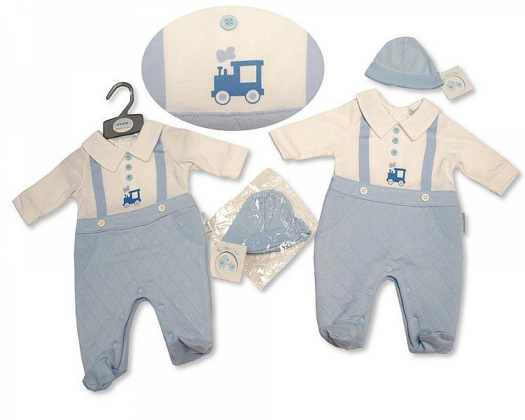 Baby Boys Faux Dungaree All in One with Hat - Train - NB-3M - (BIS-2027-2096) - Kidswholesale.co.uk